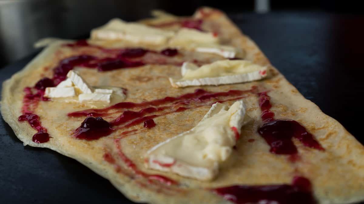 Brie Apple Rasberry Crepe