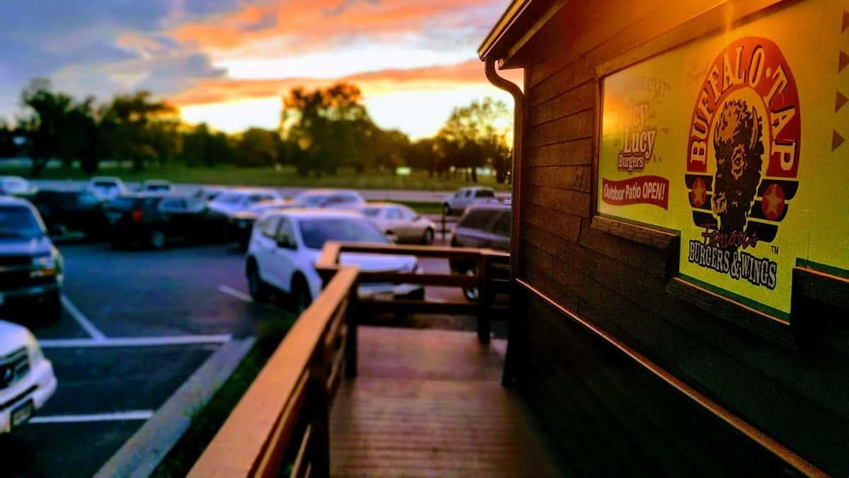 bar exterior at sunset