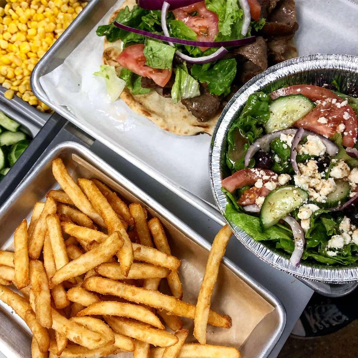 Greek salad and fries