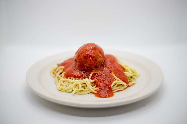 A Big Plate of Spaghetti and Meatball