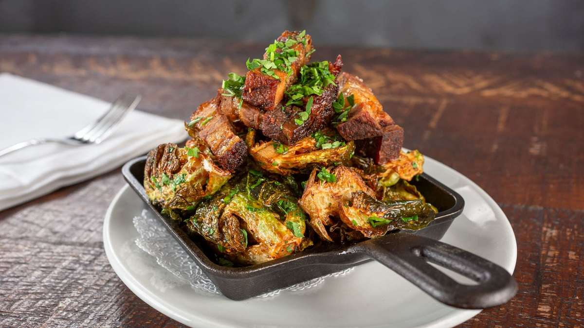 Crispy Brussels Sprouts with Braised Lamb Cheek