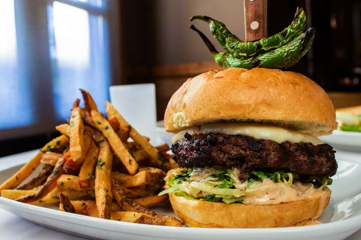Side view of an American Wagyu Wine Country Burger