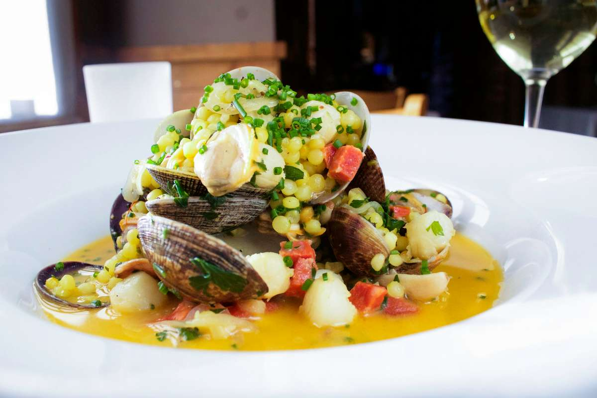 Close up view of a seasonal seafood and corn dish