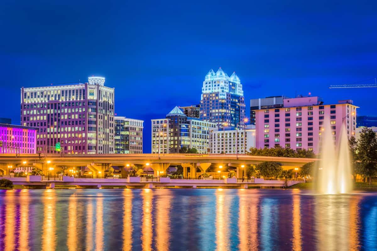 city at night with lake view