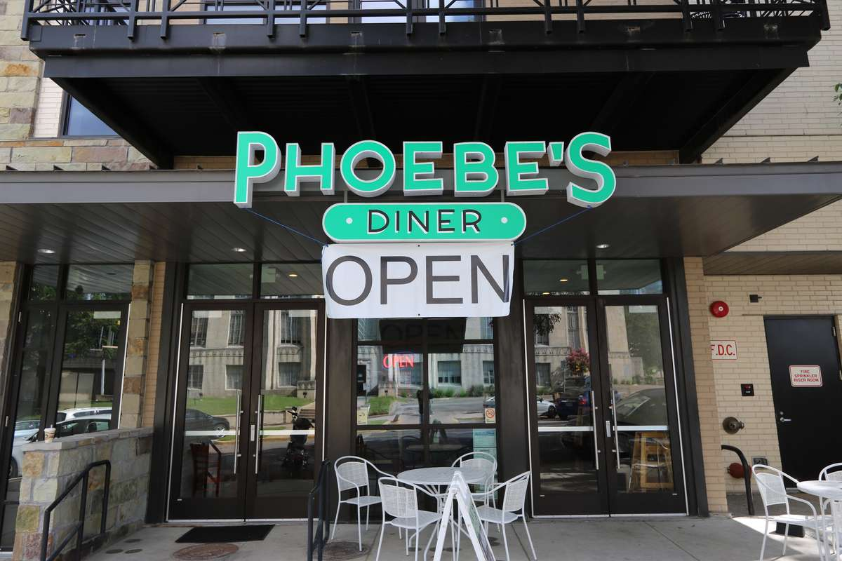 phoebe's downtown now open sign