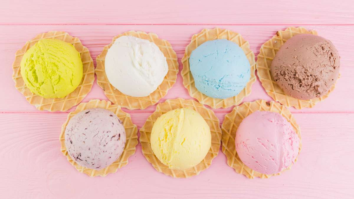Various flavors of icecream on waffle cone
