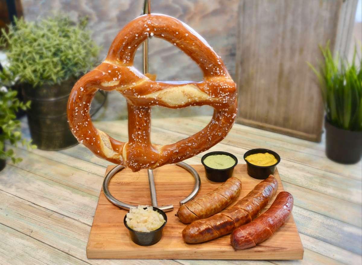pretzel and sausage