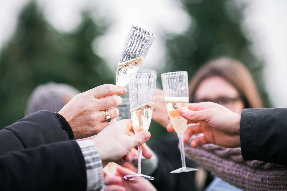 Group toasting with champagne flutes