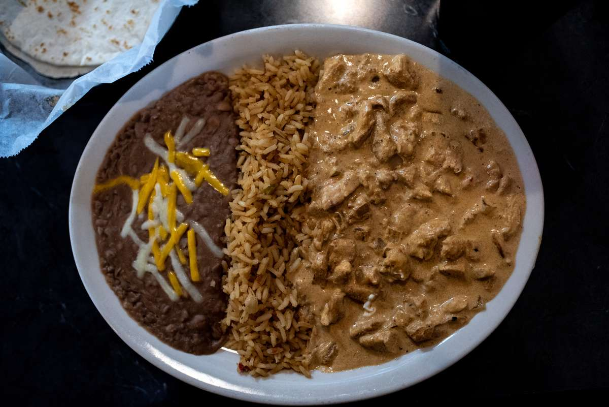 rice, beans, and beef