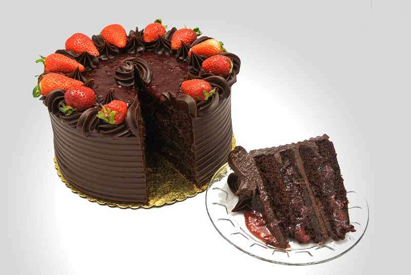 Chocolate Strawberry Fudge Cake