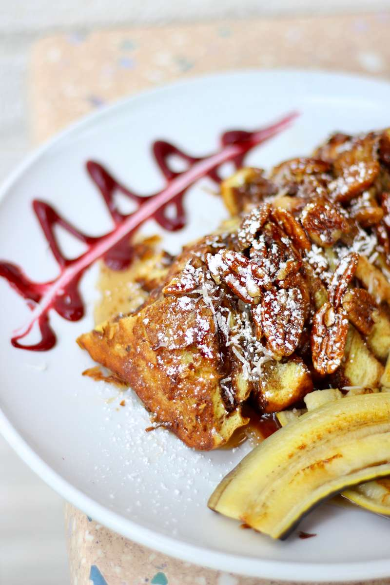 Coconut Battered Nutella Stuffed French Toast