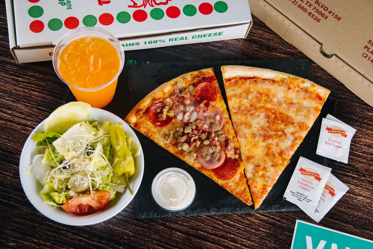 2XL Slices with 3 Toppings, Side Salad(Garden/Caesar) & Drink