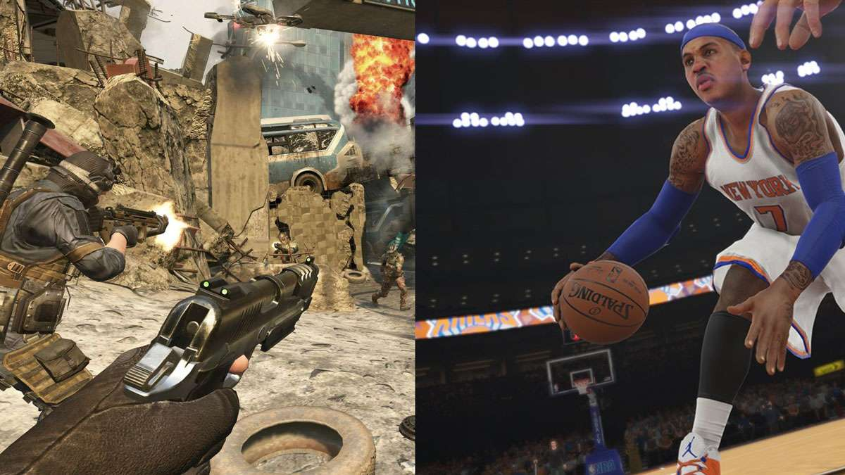 Video game on left, basketball game on right