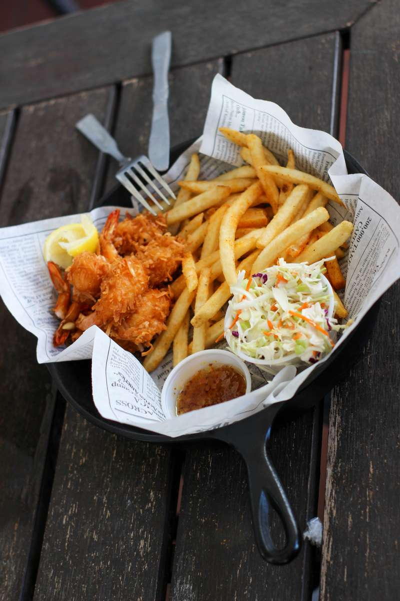 fried foods and coleslaw