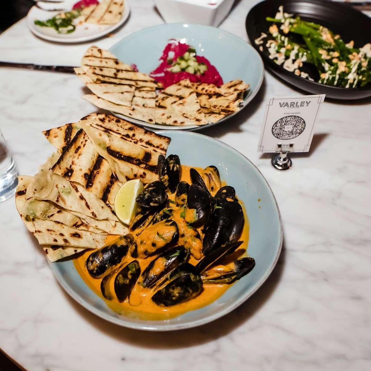 Thai Curry Mussels, Beet Hummus, Chorizo