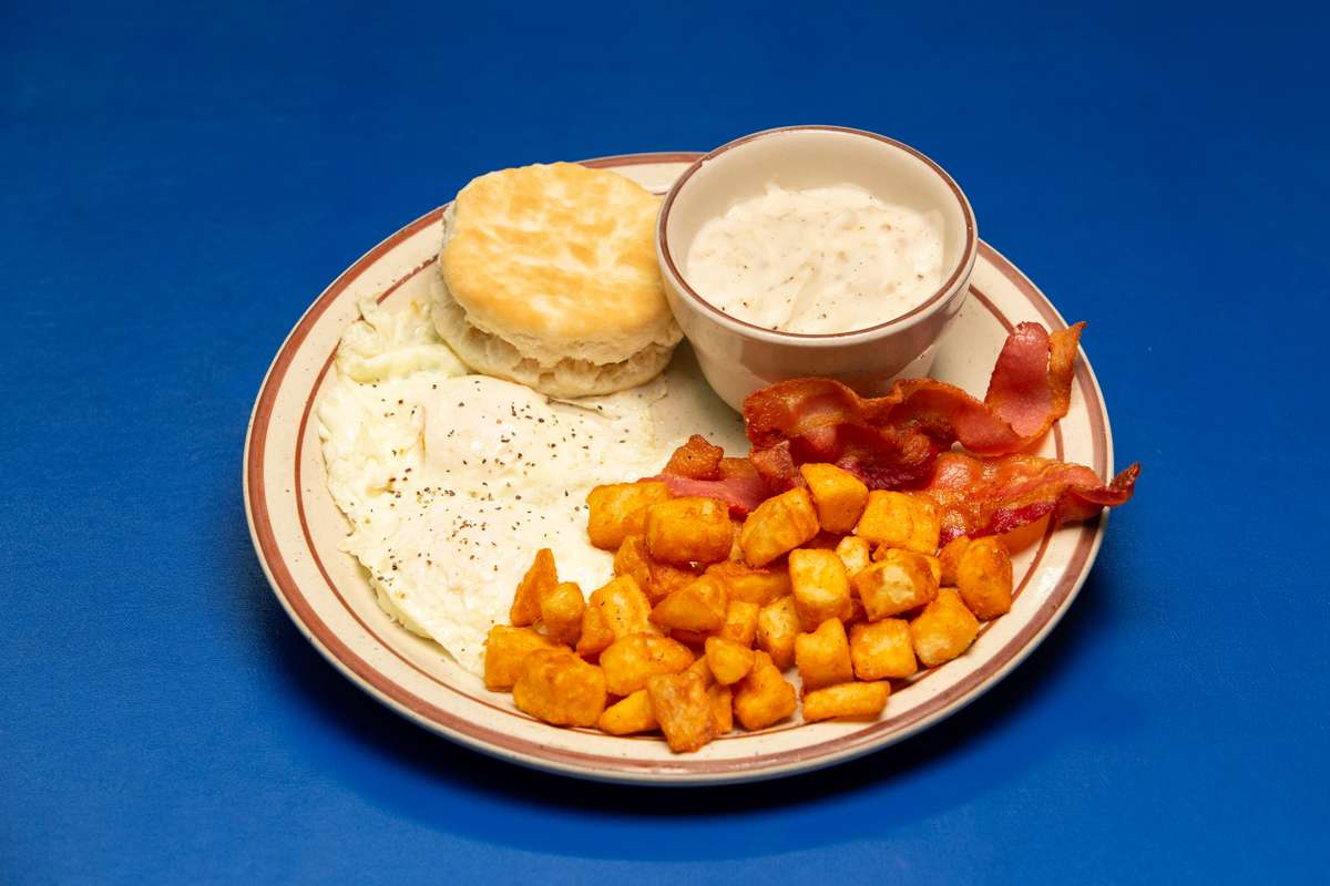 biscuit, hash browns, bacon, eggs