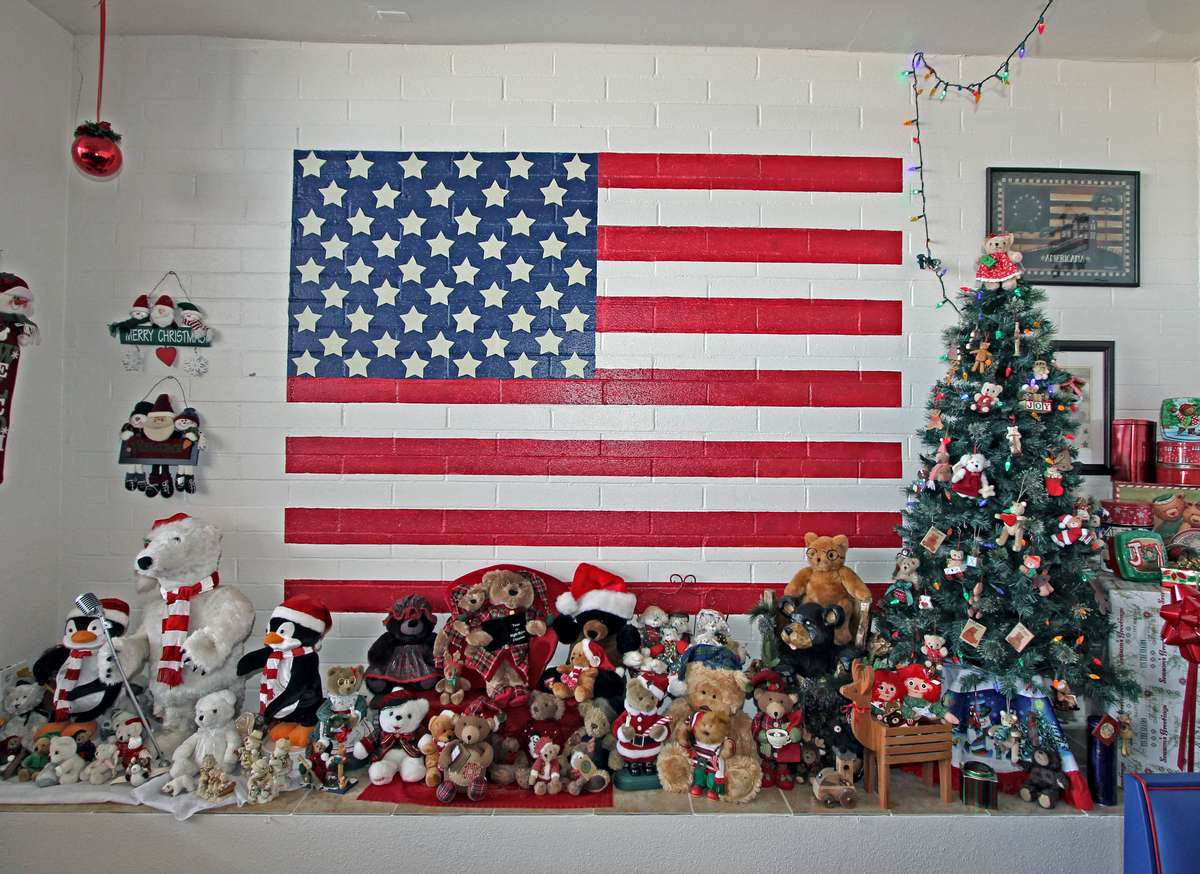 interior with american flag