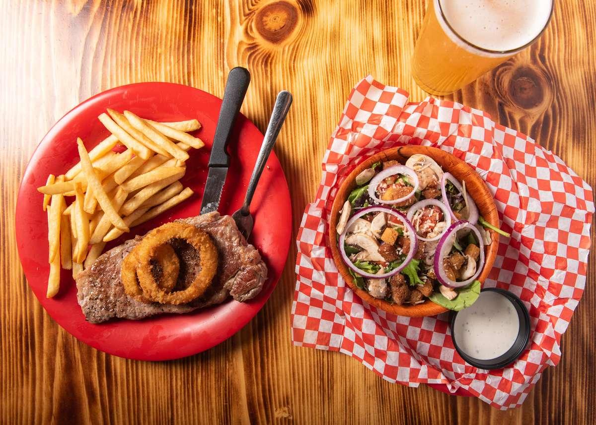 new york steak and salad