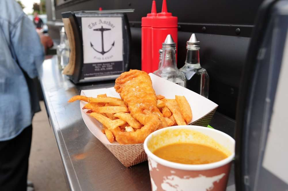 Fish and chips from food truck