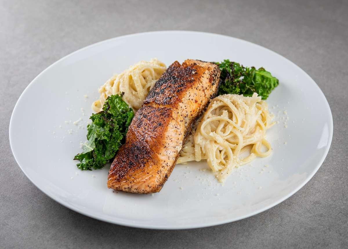 Salmon and organic Linguine Alfredo Sauce 06