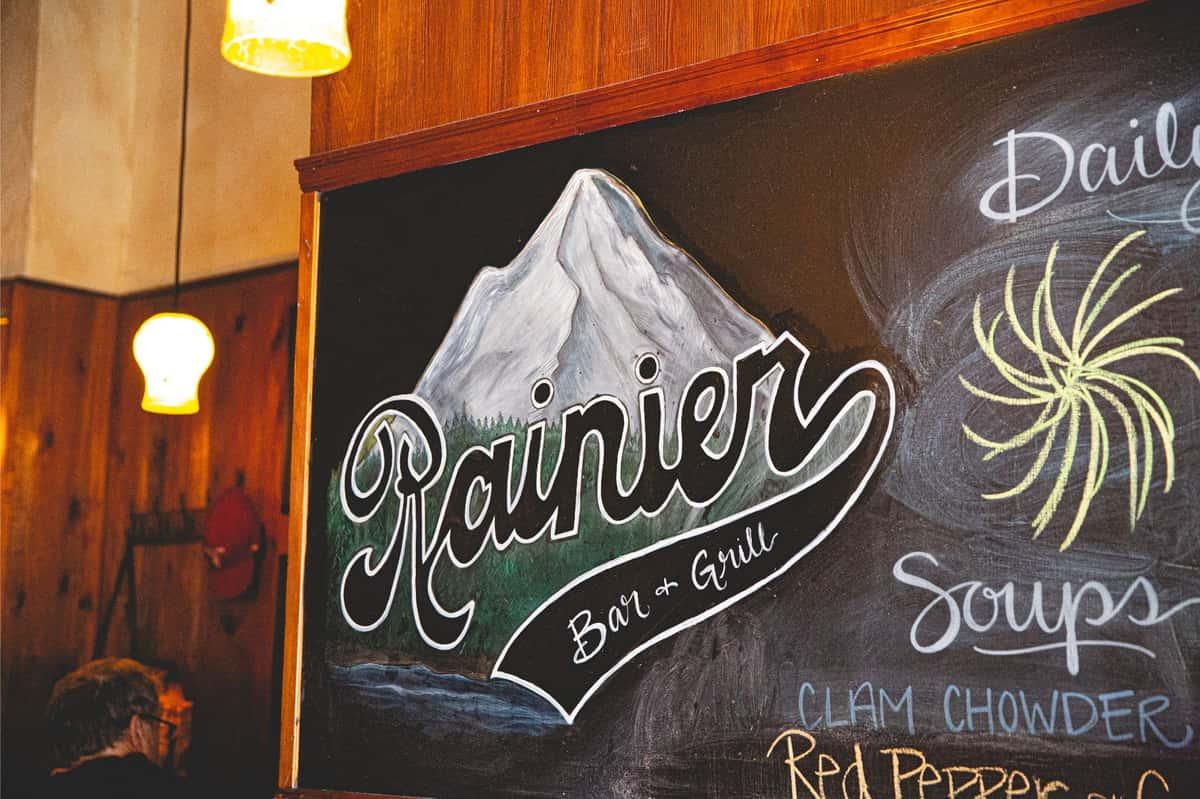 Rainier Bar & Grill on chalkboard