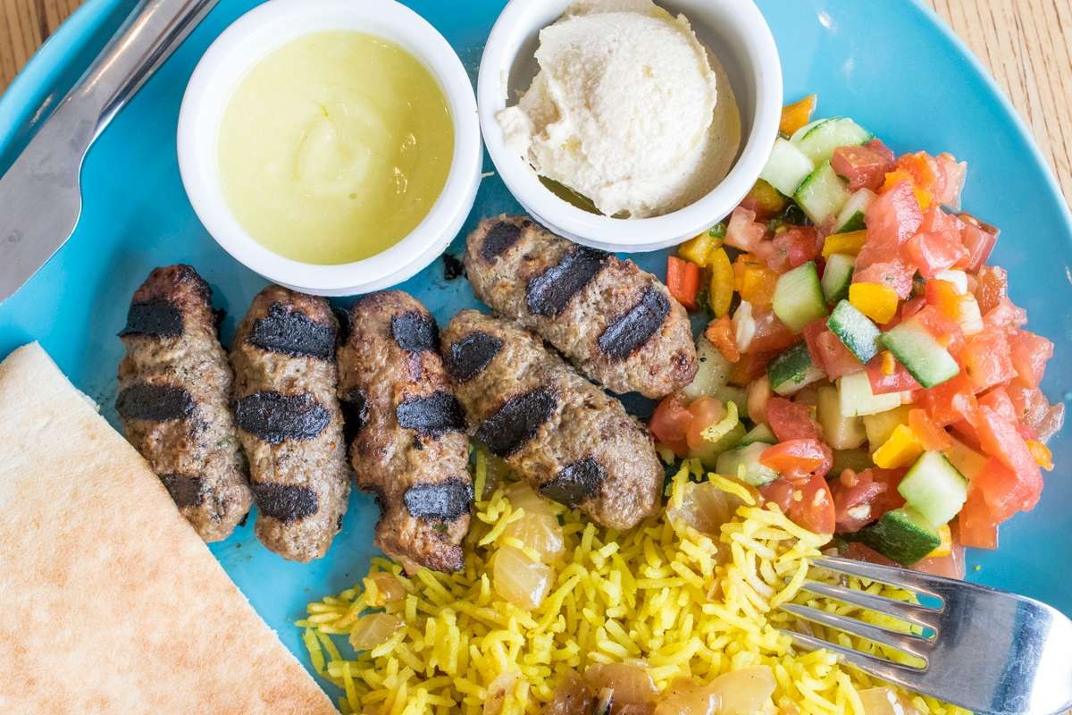 Hand Rolled Beef Kabob Plate