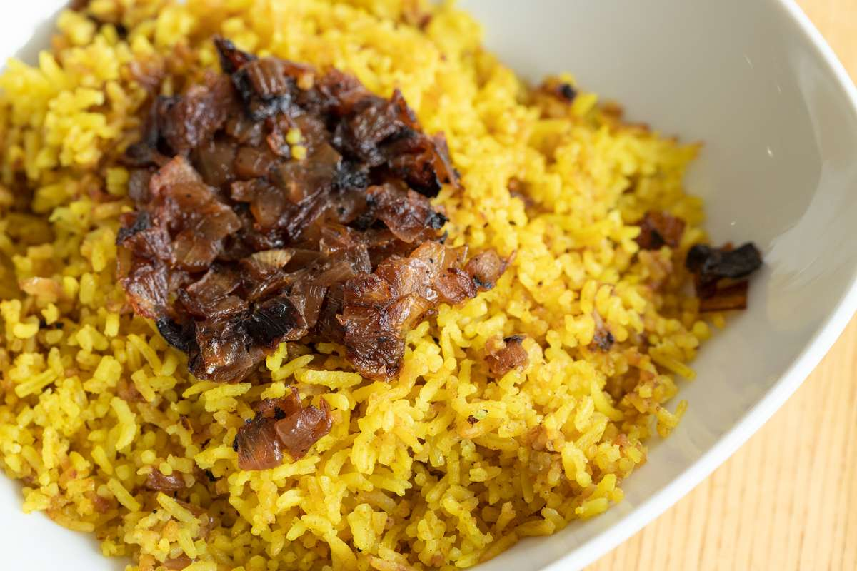 Turmeric Rice With Caramelized Onions