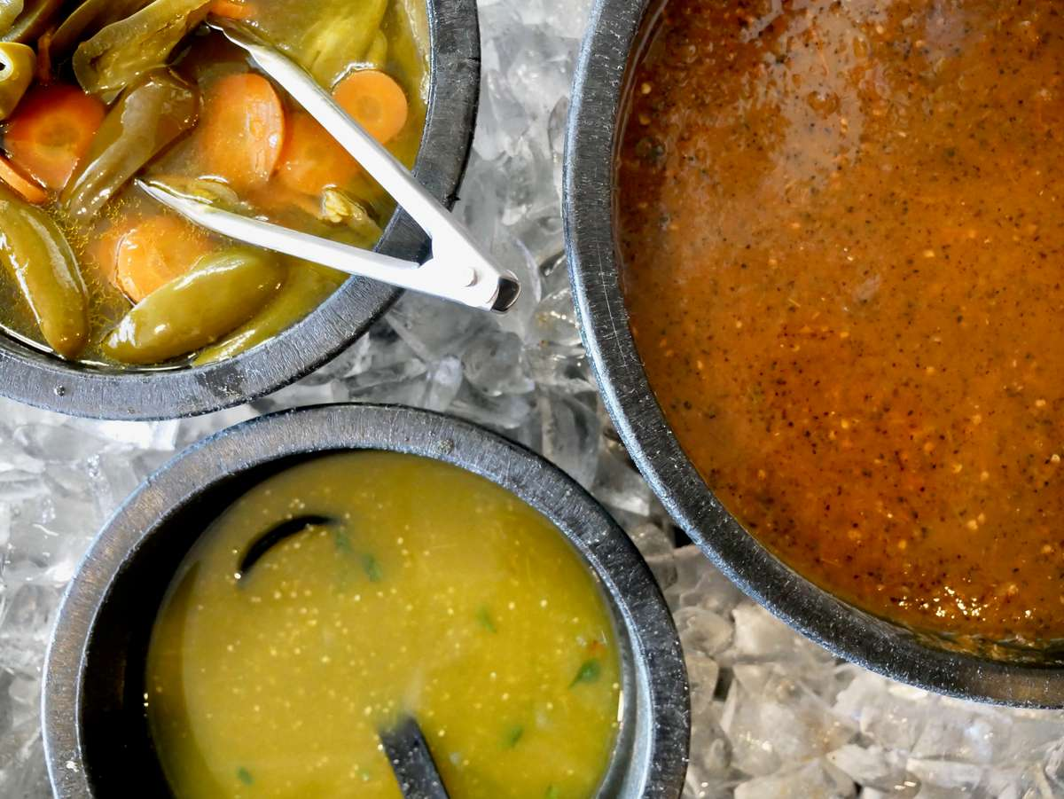 salsa and sides on ice