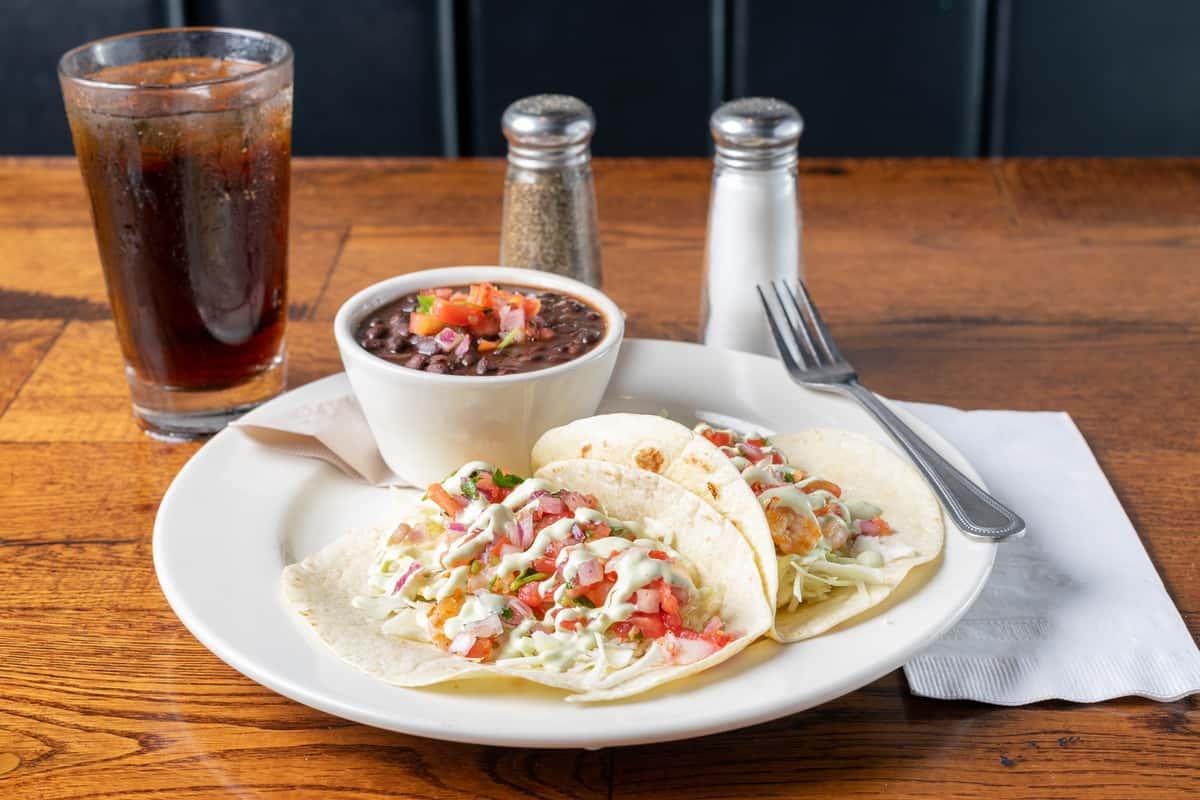 shrimp tacos with black beans