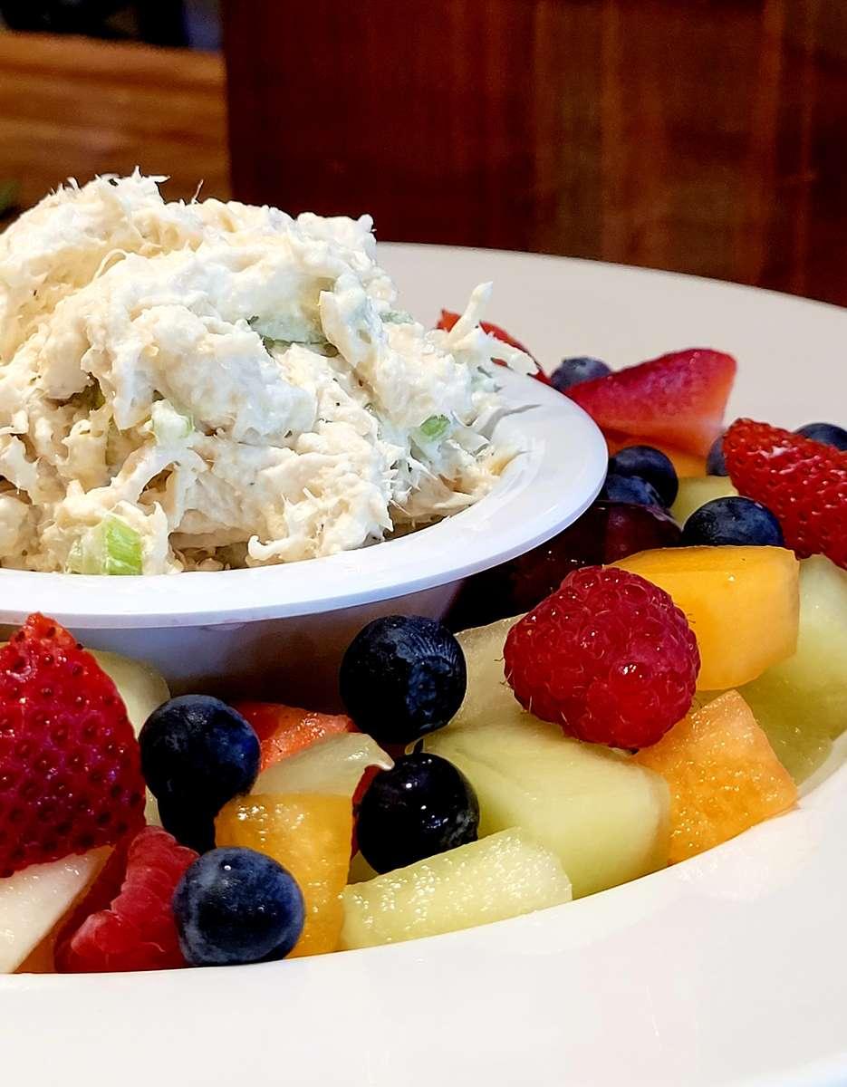 Chicken Salad Over Fresh Fruit