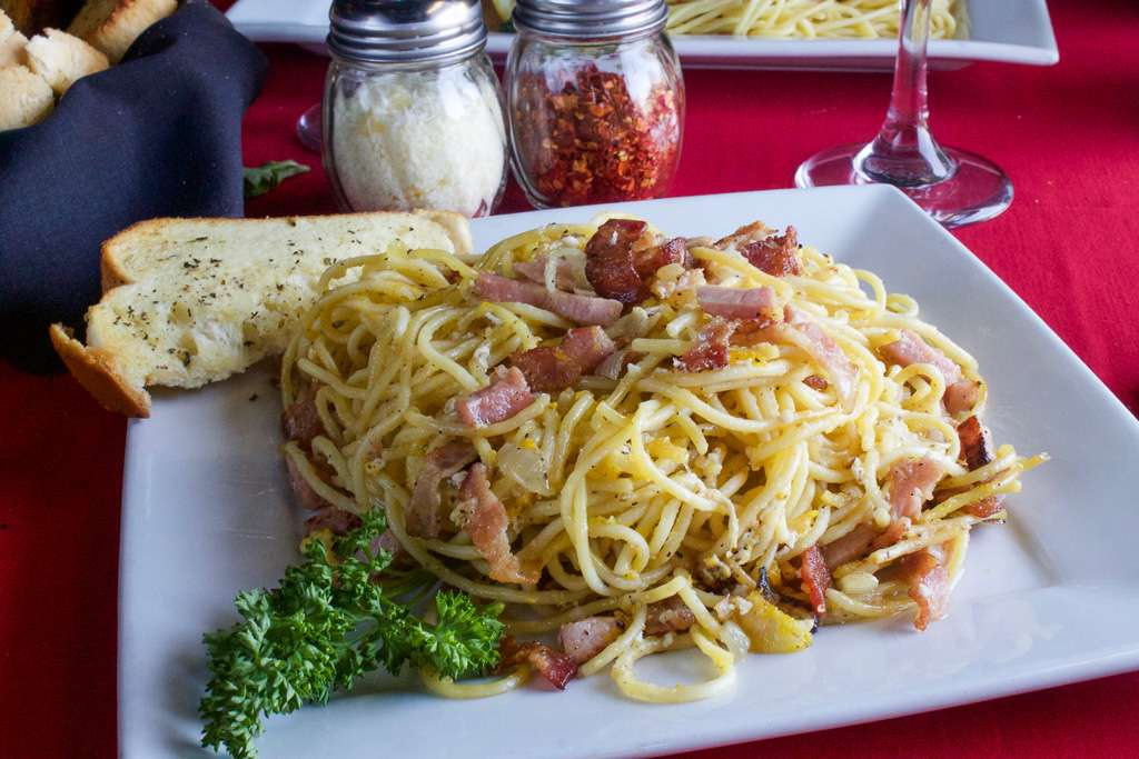 Carbonara with Bacon, Ham, and Onion