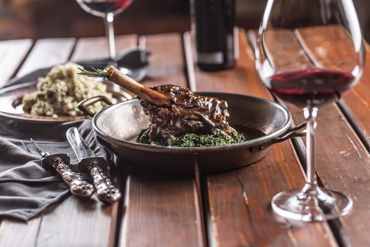 lamb leg and wine