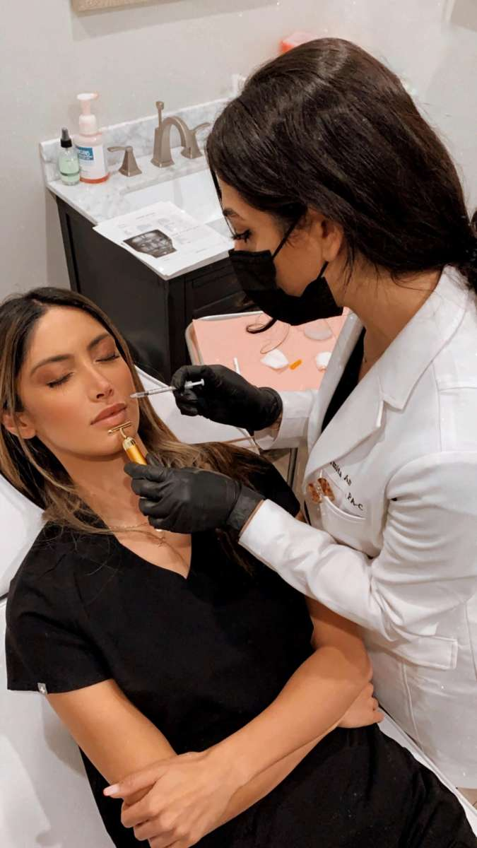 Girl getting injected