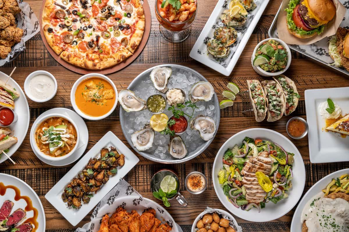 spread of menu items