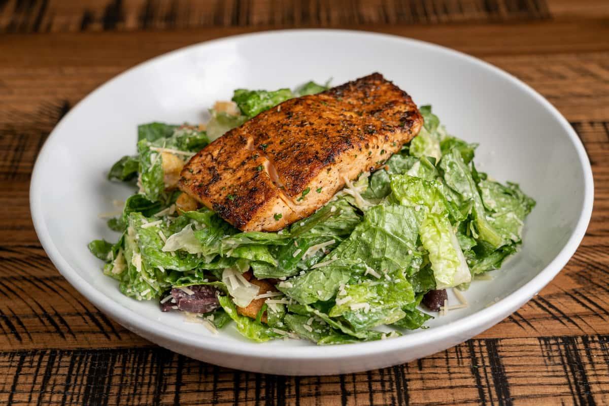 Classic Caesar Salad with Blackened Salmon