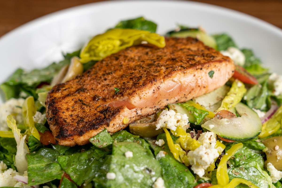 The Greek with Blackened Salmon