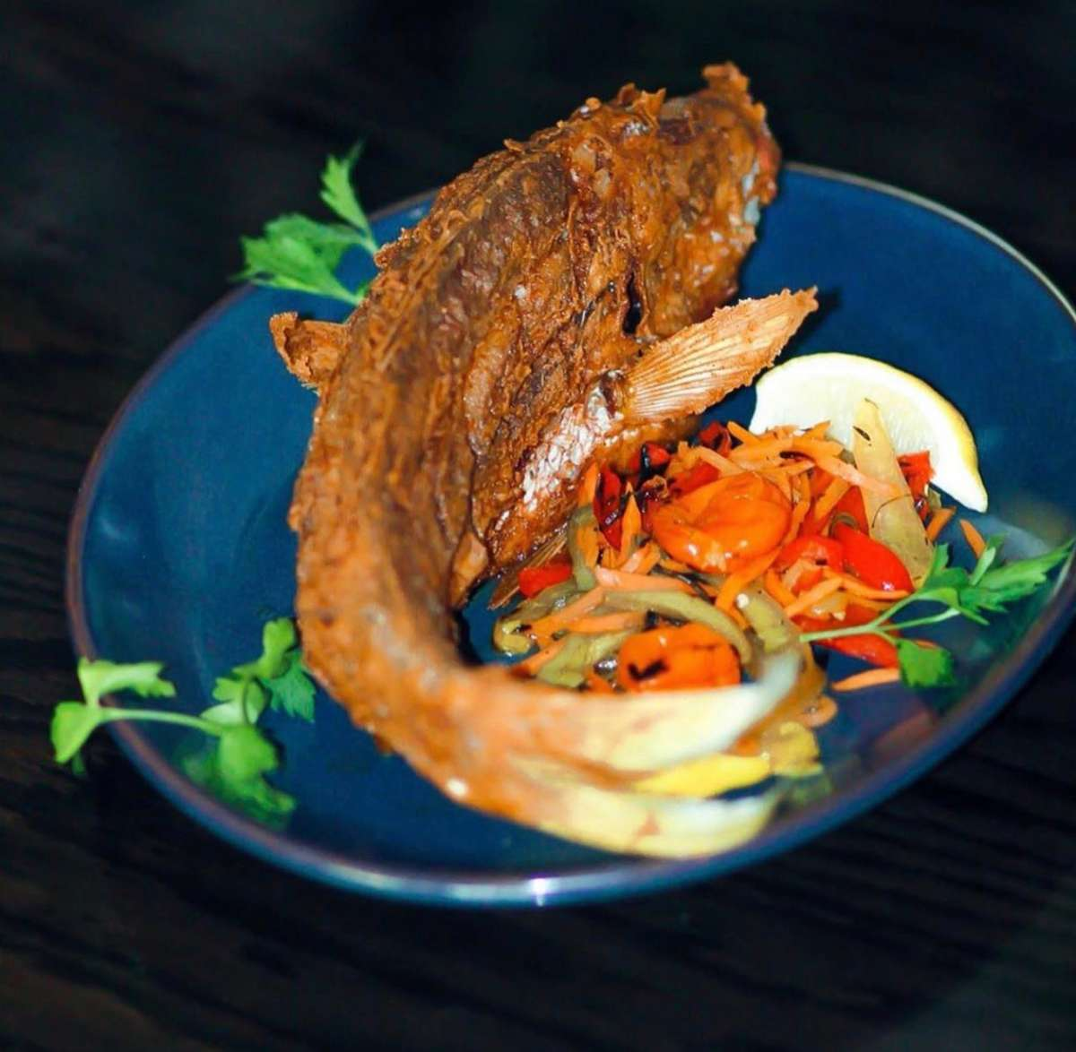 Whole Fried Caribbean Red Snapper