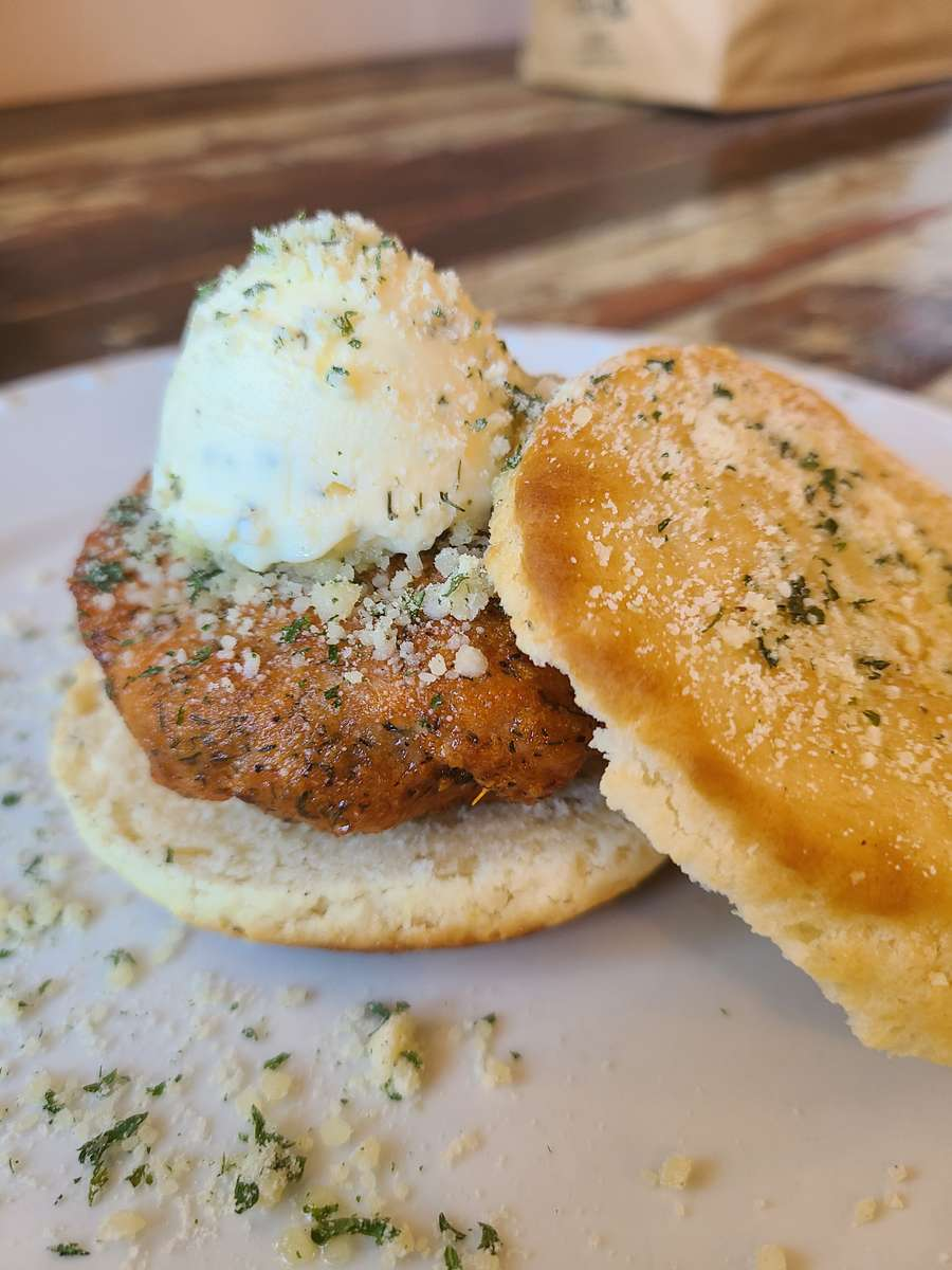 Parmesan-Topped Salmon Biscuit
