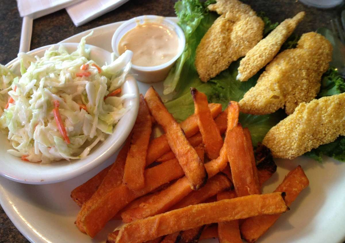 Chicken Strips, Cole Slaw and choice of Side