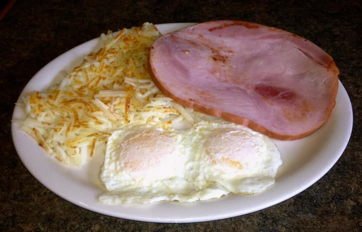 ham steak eggs and hashbrowns