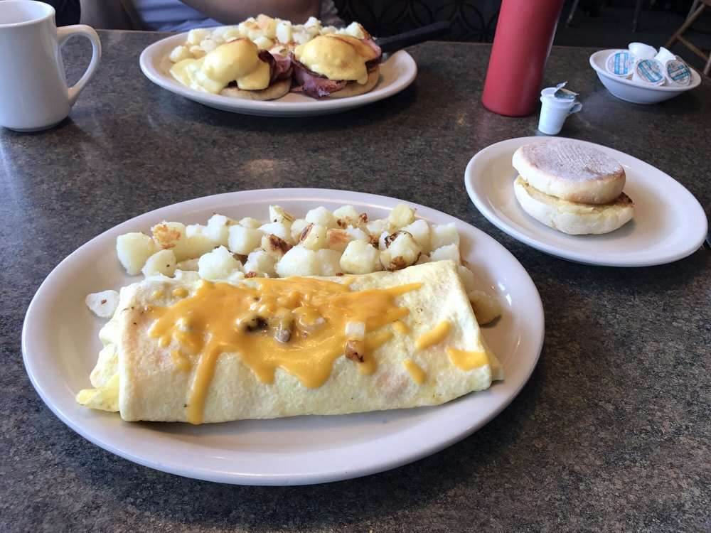 omelette and eggs benedict