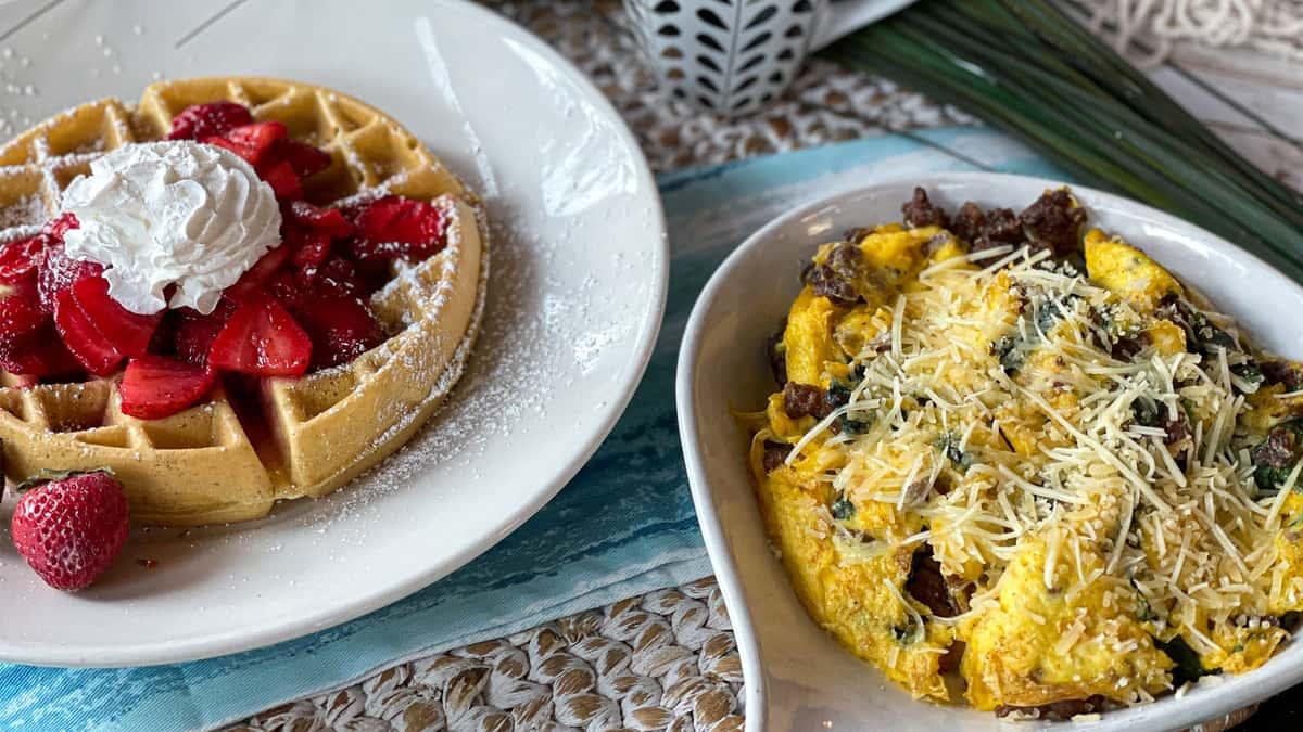 Strawberry Waffles & Joes Scramble