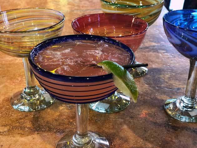 Goza Pomegranate Margarita with Handblown Glass
