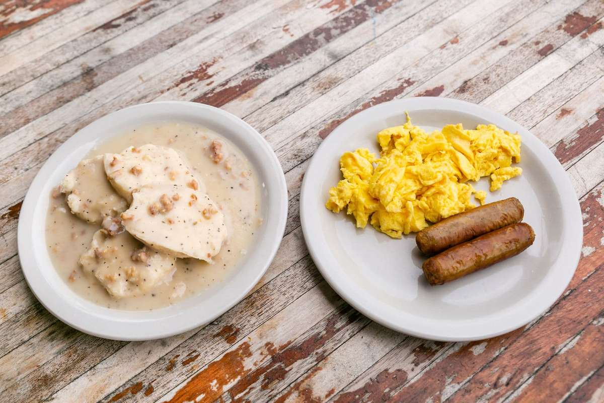 gravy and eggs and sausage