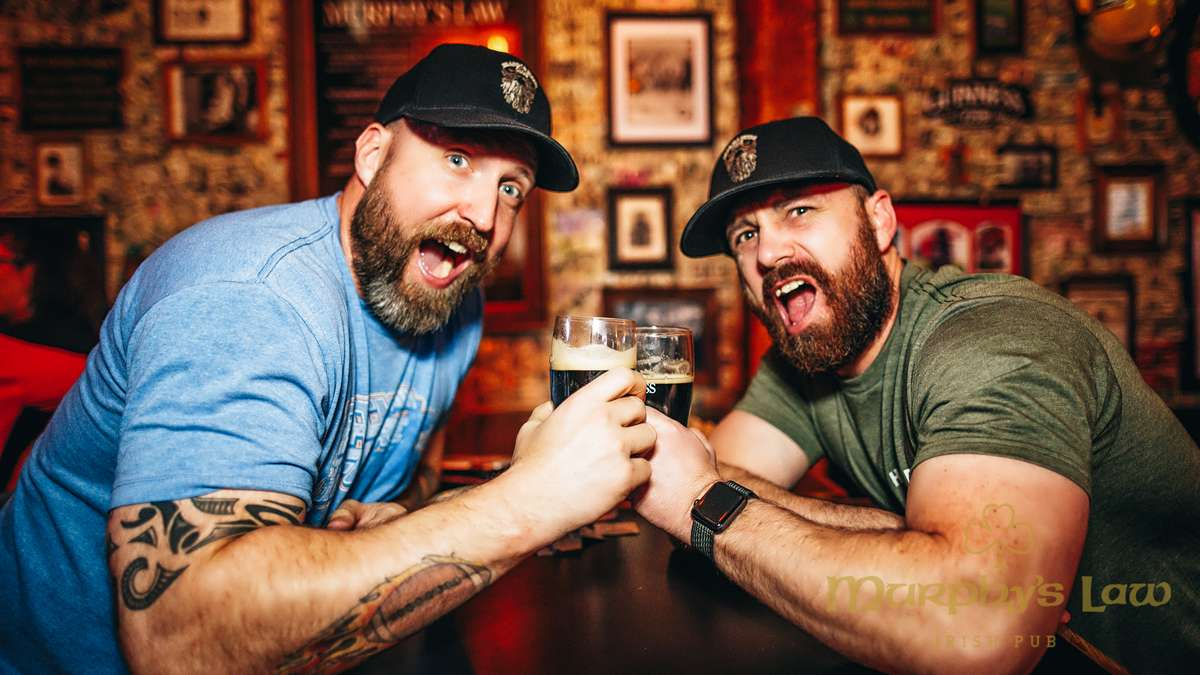 Members of the Beards and Beers club sharing a beer