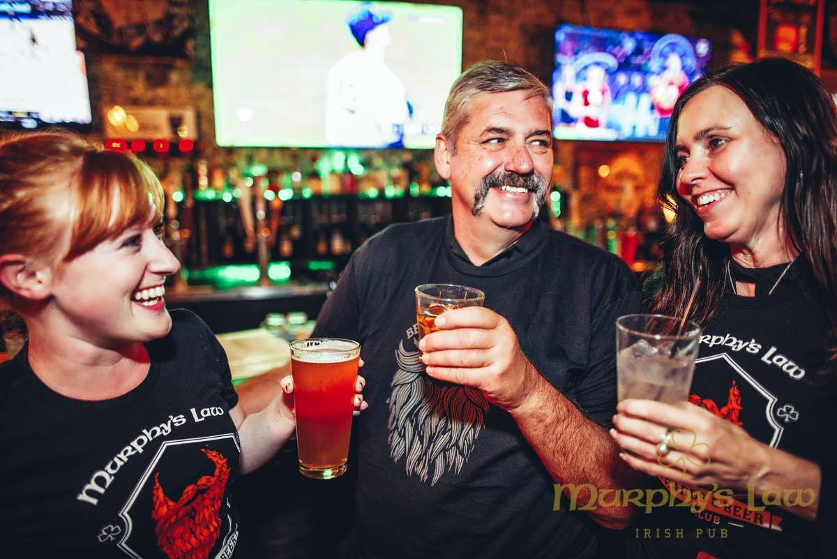 Waitress with The Beards and Beers Club shirt