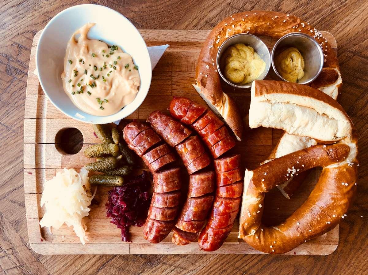 Schreiner's Sausage + Pretzel Board