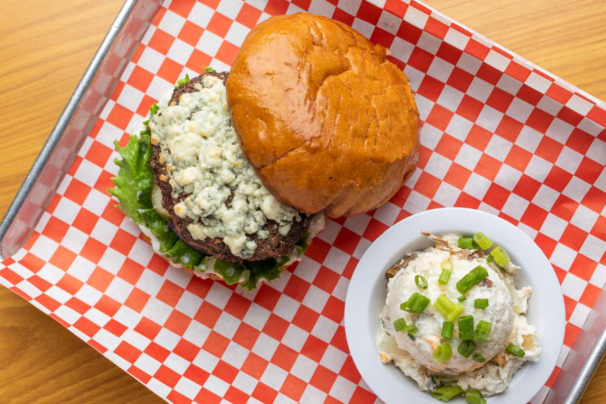 Very Blue Cow Burger