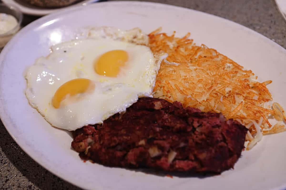 Corned beef hash and eggs