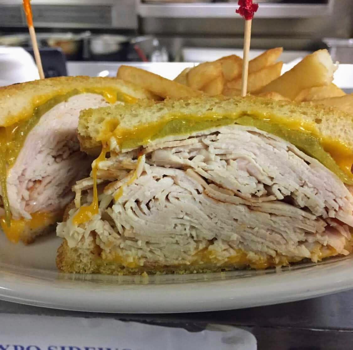 65. Roast beef or turkey Ortega melt